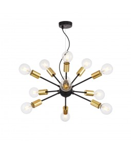 Griestu lampa Maytoni Loft melnā krāsā ar zelta detaļām