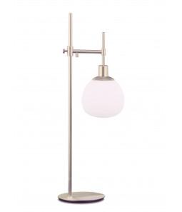 Galda lampa Maytoni Modern sudraba krāsā ar baltu kupolu