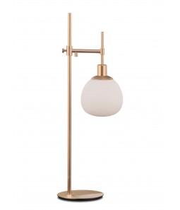 Galda lampa Maytoni Modern misiņa krāsā ar baltu kupolu