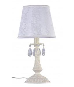 Galda lampa Maytoni Elegant baltā krāsā ar kristāla dekoriem