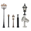 Outdoor garden lamps and pole lighting