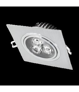 3W Iebūvējams kvadrāts LED gaismeklis, grozāms, metāls LENS