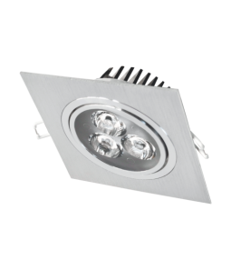 5W Iebūvējams kvadrāts LED gaismeklis, grozāms, metāls LENS