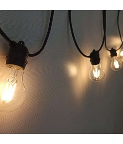 Melna āra gaismas virtene 15xE27 IP65 14.4m integrēts cokols ar LED filamet spuldzēm