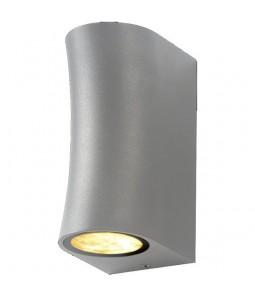 Sienas gaismeklis alumīnijs sudraba korpuss IP44 2xGU10