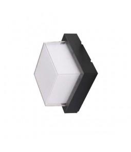 LED Sienas lampa kvadrāts melns 15W 4200K 1500lm IP65