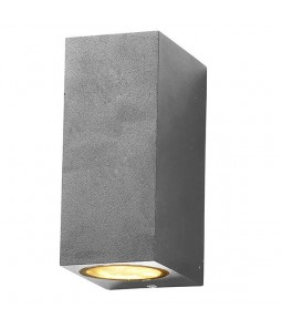 Sienas gaismeklis alumīnijs sudraba korpuss IP54 2xGU10
